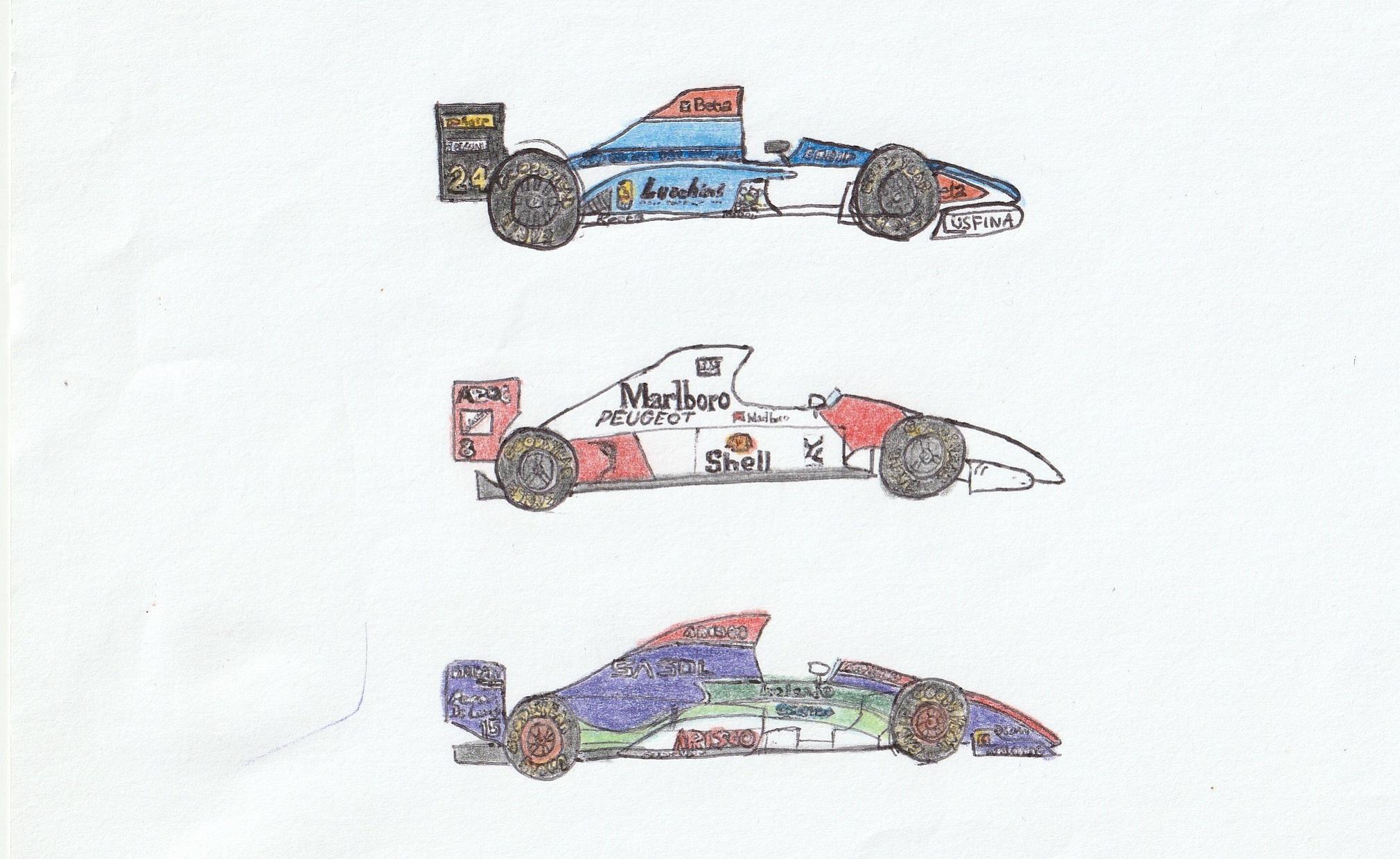 From top to      bottom: Minardi M194, McLaren MP4/9, Jordan 194